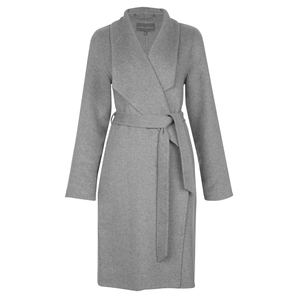 Tie Waist Wrap Coat - pattern: plain; collar: shawl/waterfall; style: wrap around; fit: slim fit; predominant colour: mid grey; occasions: work; fibres: wool - mix; length: below the knee; waist detail: belted waist/tie at waist/drawstring; sleeve length: long sleeve; sleeve style: standard; collar break: medium; pattern type: fabric; texture group: woven bulky/heavy; wardrobe: investment; season: a/w 2016