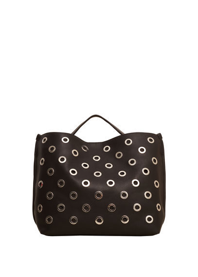 Metal Appliqué Bag - secondary colour: silver; predominant colour: black; occasions: casual, creative work; type of pattern: standard; style: tote; length: handle; size: oversized; material: faux leather; pattern: plain; finish: plain; embellishment: chain/metal; season: a/w 2016