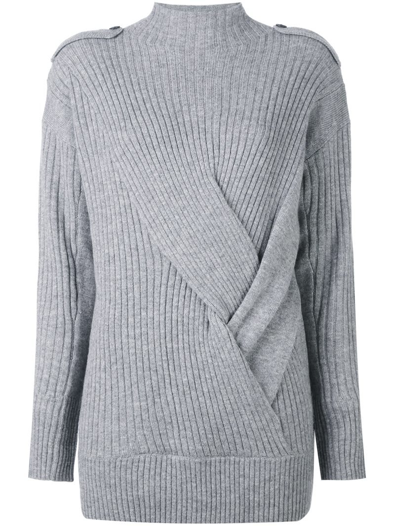 Ribbed Knotted Detail Jumper, Women's, Size: Medium, Grey - pattern: plain; neckline: high neck; style: standard; predominant colour: light grey; occasions: casual; length: standard; fibres: wool - mix; fit: slim fit; sleeve length: long sleeve; sleeve style: standard; texture group: knits/crochet; pattern type: fabric; wardrobe: basic; season: a/w 2016
