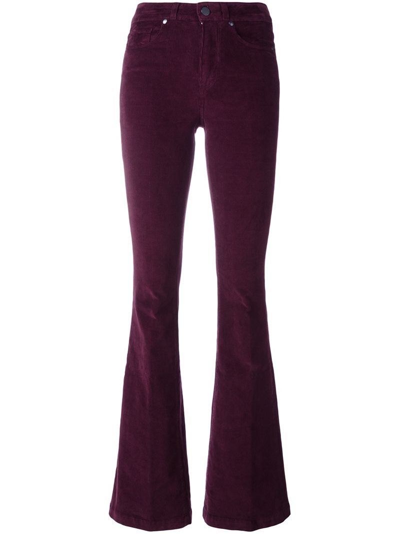 Corduroy Flared Trousers, Women's, Pink/Purple - length: standard; pattern: plain; waist: high rise; predominant colour: aubergine; occasions: casual, creative work; fibres: cotton - stretch; texture group: corduroy; fit: flares; pattern type: fabric; style: standard; season: a/w 2016; wardrobe: highlight