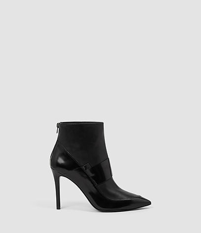 Xavier Heel Boot - predominant colour: black; occasions: evening; material: leather; heel height: high; heel: stiletto; toe: pointed toe; boot length: ankle boot; style: standard; finish: patent; pattern: plain; season: a/w 2016; wardrobe: event