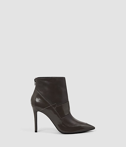 Xavier Heel Boot - predominant colour: black; occasions: casual; material: leather; heel height: high; heel: stiletto; toe: pointed toe; boot length: ankle boot; style: standard; finish: patent; pattern: plain; season: a/w 2016