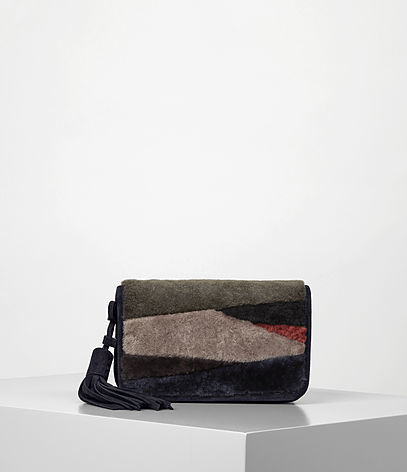 Bansho Shoulder Bag - predominant colour: black; occasions: evening, creative work; type of pattern: light; style: clutch; length: hand carry; size: small; material: suede; finish: plain; pattern: colourblock; season: a/w 2016; wardrobe: highlight