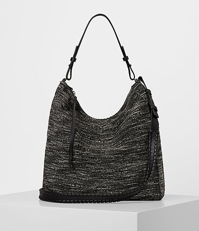 Kita Tweed North South Tote - predominant colour: black; occasions: casual; type of pattern: standard; style: shoulder; length: shoulder (tucks under arm); size: standard; material: fabric; pattern: plain; finish: plain; wardrobe: investment; season: a/w 2016