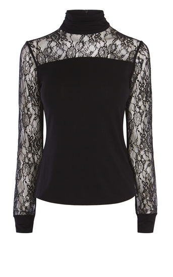High Neck Lace Top - pattern: plain; bust detail: sheer at bust; neckline: roll neck; predominant colour: black; occasions: evening; length: standard; style: top; fibres: viscose/rayon - stretch; fit: body skimming; sleeve length: long sleeve; sleeve style: standard; texture group: knits/crochet; pattern type: knitted - fine stitch; embellishment: lace; shoulder detail: sheer at shoulder; season: a/w 2016; wardrobe: event