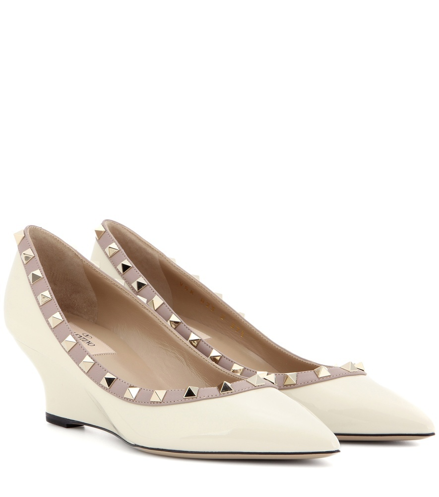 Rockstud Patent Leather Wedge Pumps - predominant colour: white; secondary colour: taupe; occasions: evening; material: leather; heel height: high; embellishment: studs; heel: wedge; toe: pointed toe; style: courts; finish: plain; pattern: colourblock; season: a/w 2016; wardrobe: event