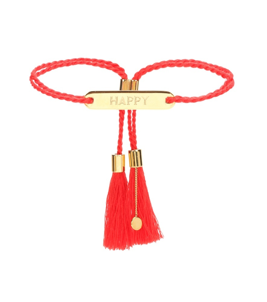 Tasselled Bracelet - predominant colour: true red; secondary colour: gold; style: friendship/tie; size: standard; material: fabric/cotton; finish: plain; embellishment: chain/metal; occasions: creative work; season: a/w 2016; wardrobe: highlight
