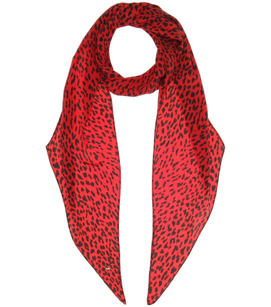 Printed Silk Scarf - predominant colour: true red; occasions: casual, creative work; type of pattern: standard; style: skinny; size: standard; material: fabric; pattern: plain; season: a/w 2016; wardrobe: highlight