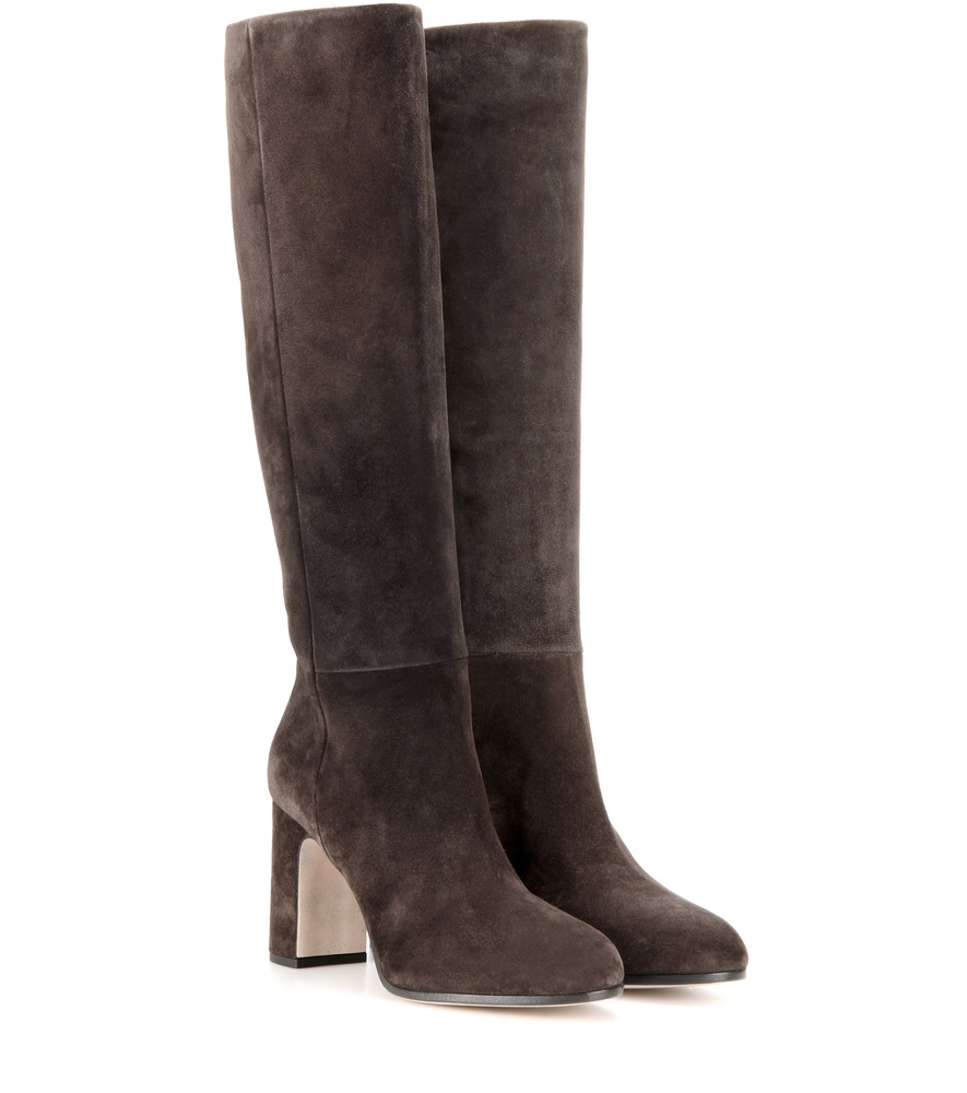 Suede Knee High Boots - predominant colour: chocolate brown; occasions: casual; material: suede; heel height: high; heel: block; toe: round toe; boot length: knee; style: standard; finish: plain; pattern: plain; wardrobe: investment; season: a/w 2016