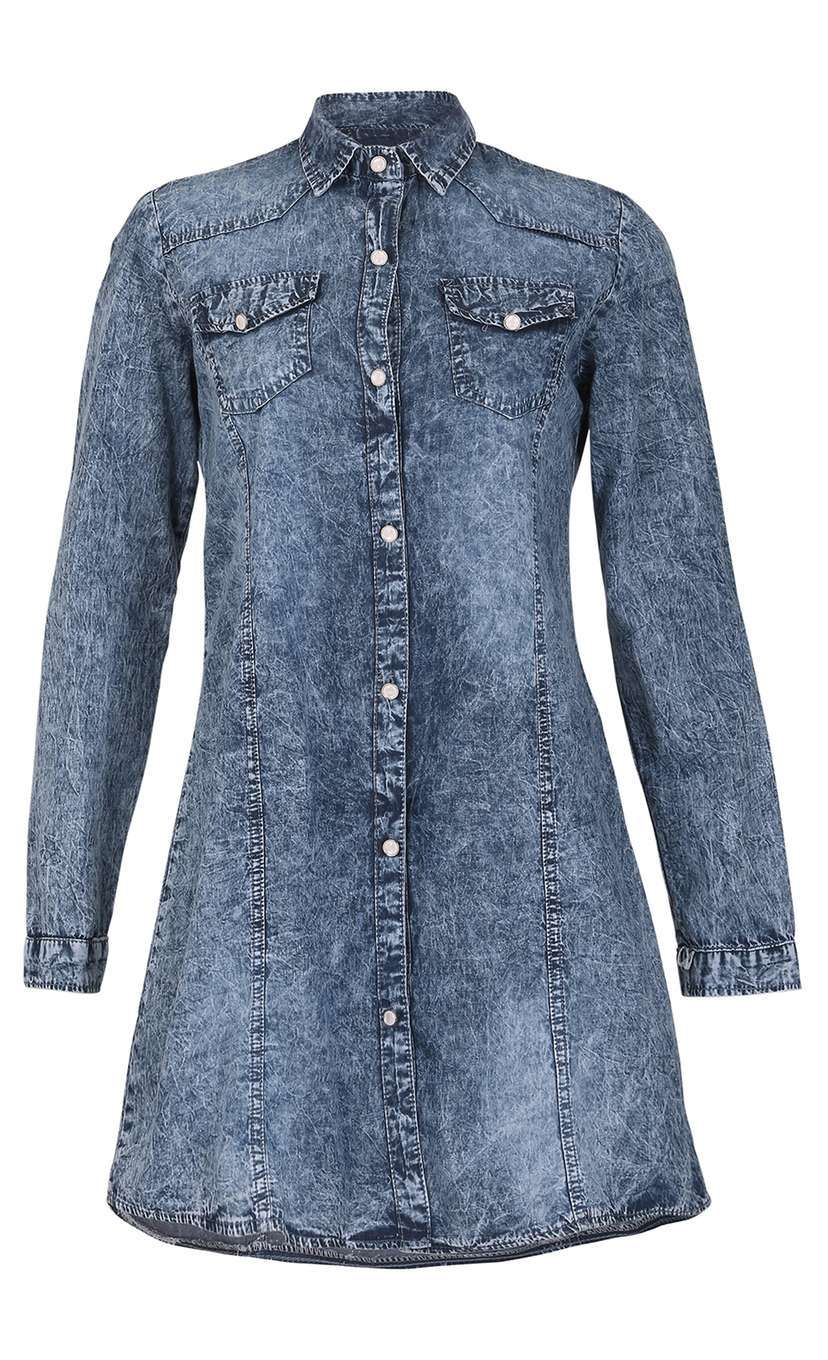 Womens **Izabel London Blue Washed Tone Dress Blue - style: shirt; length: mid thigh; neckline: shirt collar/peter pan/zip with opening; pattern: plain; predominant colour: denim; occasions: casual, creative work; fit: soft a-line; fibres: cotton - mix; sleeve length: long sleeve; sleeve style: standard; texture group: denim; pattern type: fabric; pattern size: standard; season: a/w 2016