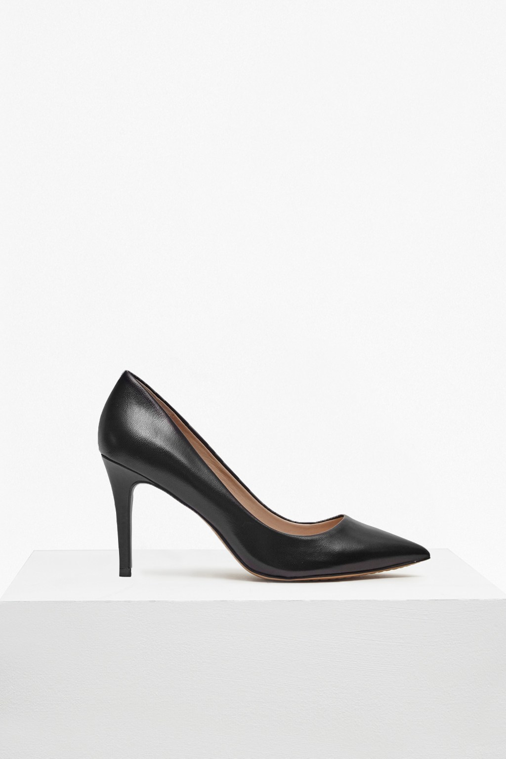 Rosalie Pointy Stiletto Heels Black - predominant colour: black; occasions: evening, work, occasion; material: leather; heel height: high; heel: stiletto; toe: pointed toe; style: courts; finish: plain; pattern: plain; wardrobe: investment; season: a/w 2016
