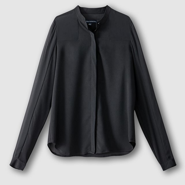 Long Sleeved Shirt With Grandad Collar - pattern: plain; style: shirt; predominant colour: black; occasions: evening; length: standard; neckline: collarstand; fibres: polyester/polyamide - 100%; fit: body skimming; sleeve length: long sleeve; sleeve style: standard; texture group: crepes; pattern type: fabric; season: a/w 2016; wardrobe: event