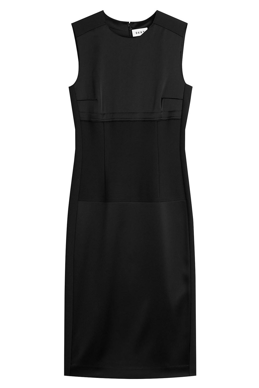 Dress With Satin - style: shift; length: below the knee; pattern: plain; sleeve style: sleeveless; predominant colour: black; occasions: evening; fit: body skimming; fibres: polyester/polyamide - mix; neckline: crew; sleeve length: sleeveless; texture group: structured shiny - satin/tafetta/silk etc.; pattern type: fabric; season: a/w 2016; wardrobe: event