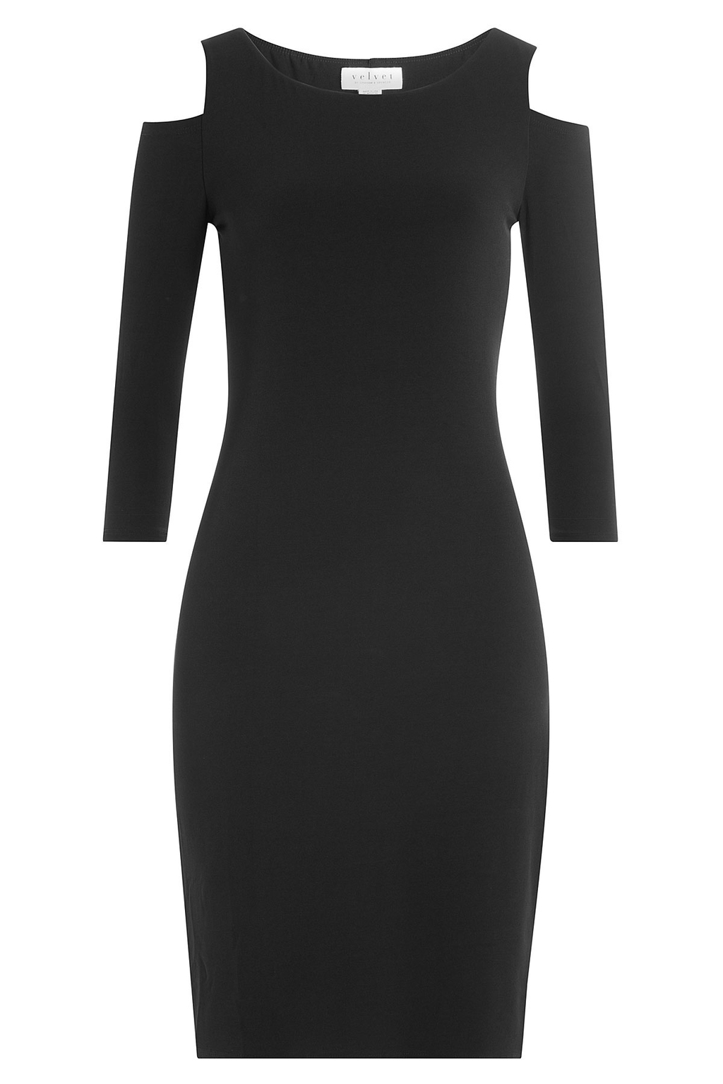 Jersey Dress With Cutout Shoulders - fit: tight; pattern: plain; style: bodycon; predominant colour: black; occasions: evening; length: just above the knee; fibres: polyester/polyamide - stretch; neckline: crew; shoulder detail: cut out shoulder; sleeve length: 3/4 length; sleeve style: standard; texture group: jersey - clingy; pattern type: fabric; season: a/w 2016; wardrobe: event