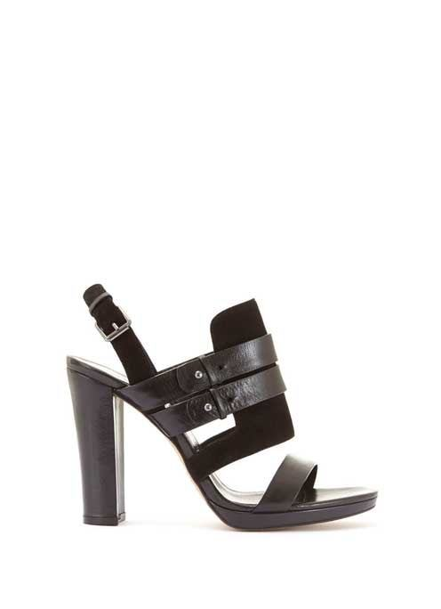 Black Olivia Sandal - predominant colour: black; occasions: evening; material: leather; heel height: high; heel: block; toe: open toe/peeptoe; style: strappy; finish: plain; pattern: plain; season: a/w 2016; wardrobe: event