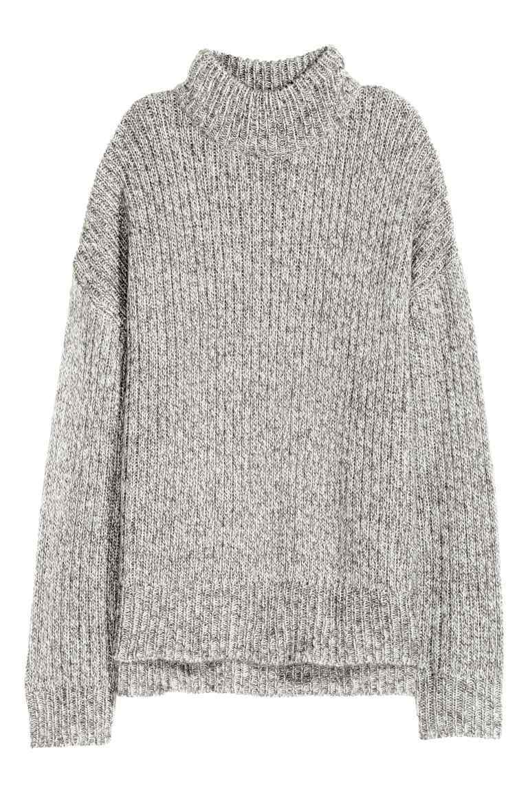 Chunky Knit Turtleneck Jumper - pattern: plain; neckline: high neck; style: standard; predominant colour: light grey; occasions: casual; length: standard; fibres: acrylic - 100%; fit: loose; sleeve length: long sleeve; sleeve style: standard; texture group: knits/crochet; pattern type: knitted - other; season: a/w 2016