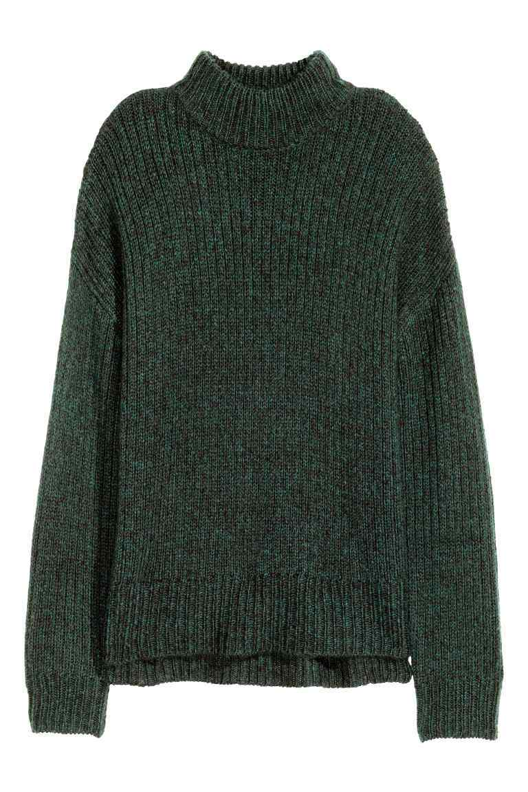 Chunky Knit Turtleneck Jumper - pattern: plain; neckline: roll neck; style: standard; predominant colour: dark green; occasions: casual; length: standard; fibres: acrylic - 100%; fit: loose; sleeve length: long sleeve; sleeve style: standard; texture group: knits/crochet; pattern type: knitted - other; season: a/w 2016