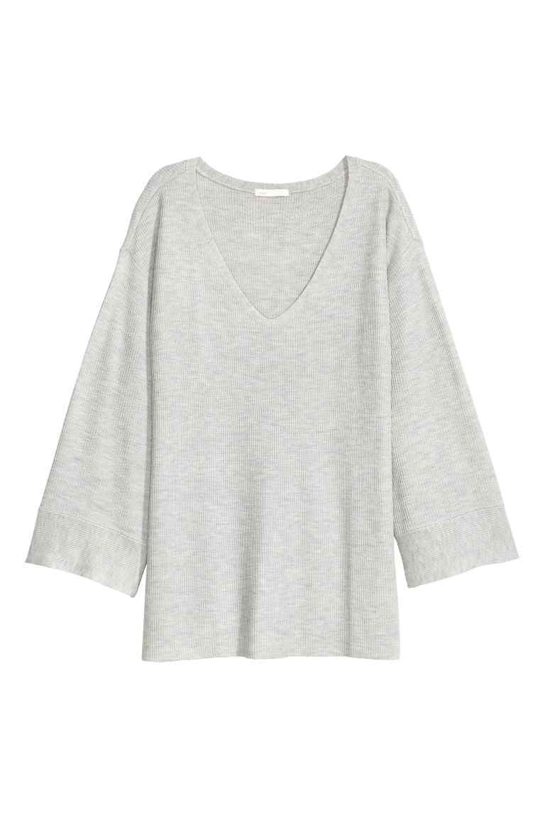 Knitted Jumper - neckline: low v-neck; pattern: plain; style: standard; predominant colour: light grey; occasions: casual; length: standard; fibres: polyester/polyamide - mix; fit: standard fit; sleeve length: long sleeve; sleeve style: standard; texture group: knits/crochet; pattern type: knitted - fine stitch; season: a/w 2016