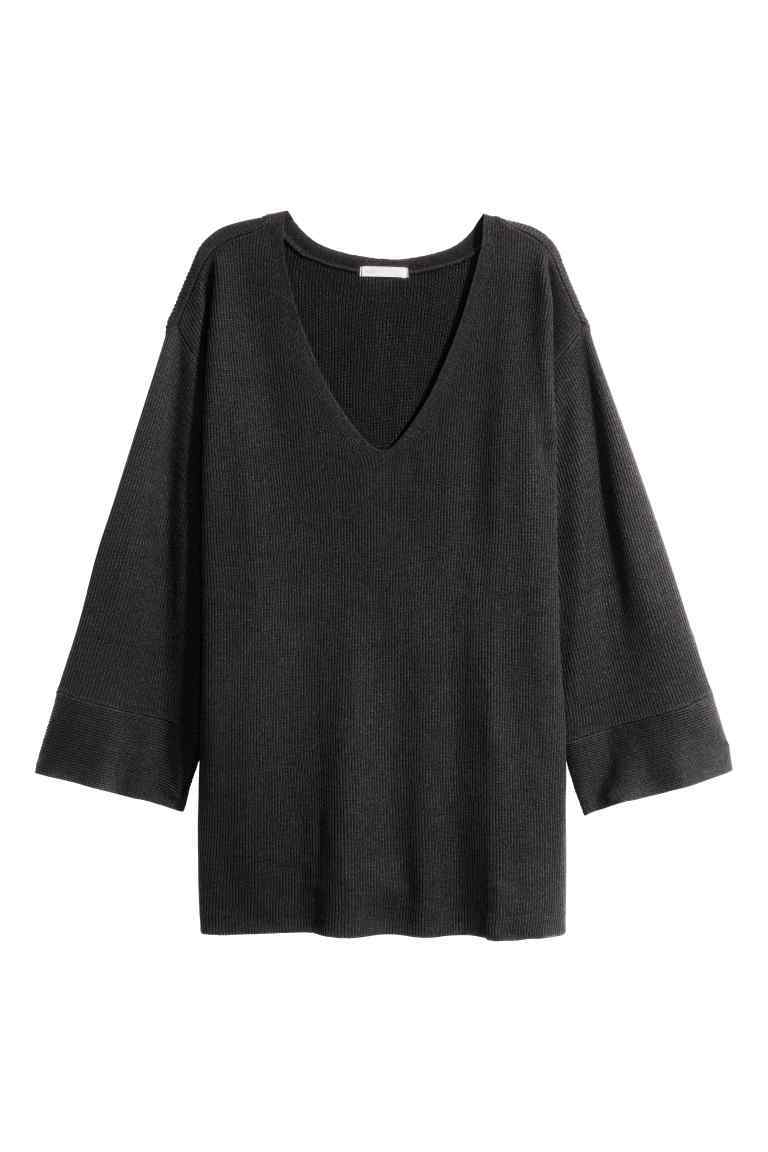 Knitted Jumper - neckline: low v-neck; sleeve style: dolman/batwing; pattern: plain; style: standard; predominant colour: black; occasions: casual, creative work; length: standard; fit: loose; sleeve length: 3/4 length; texture group: knits/crochet; pattern type: knitted - fine stitch; fibres: viscose/rayon - mix; wardrobe: basic; season: a/w 2016