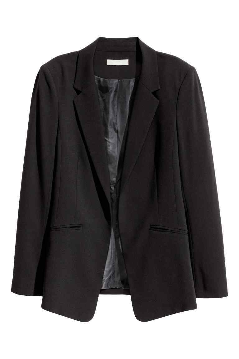 Fitted Jacket - pattern: plain; style: single breasted blazer; collar: standard lapel/rever collar; predominant colour: black; occasions: work; length: standard; fit: tailored/fitted; fibres: polyester/polyamide - 100%; sleeve length: long sleeve; sleeve style: standard; collar break: medium; pattern type: fabric; texture group: woven light midweight; wardrobe: investment; season: a/w 2016