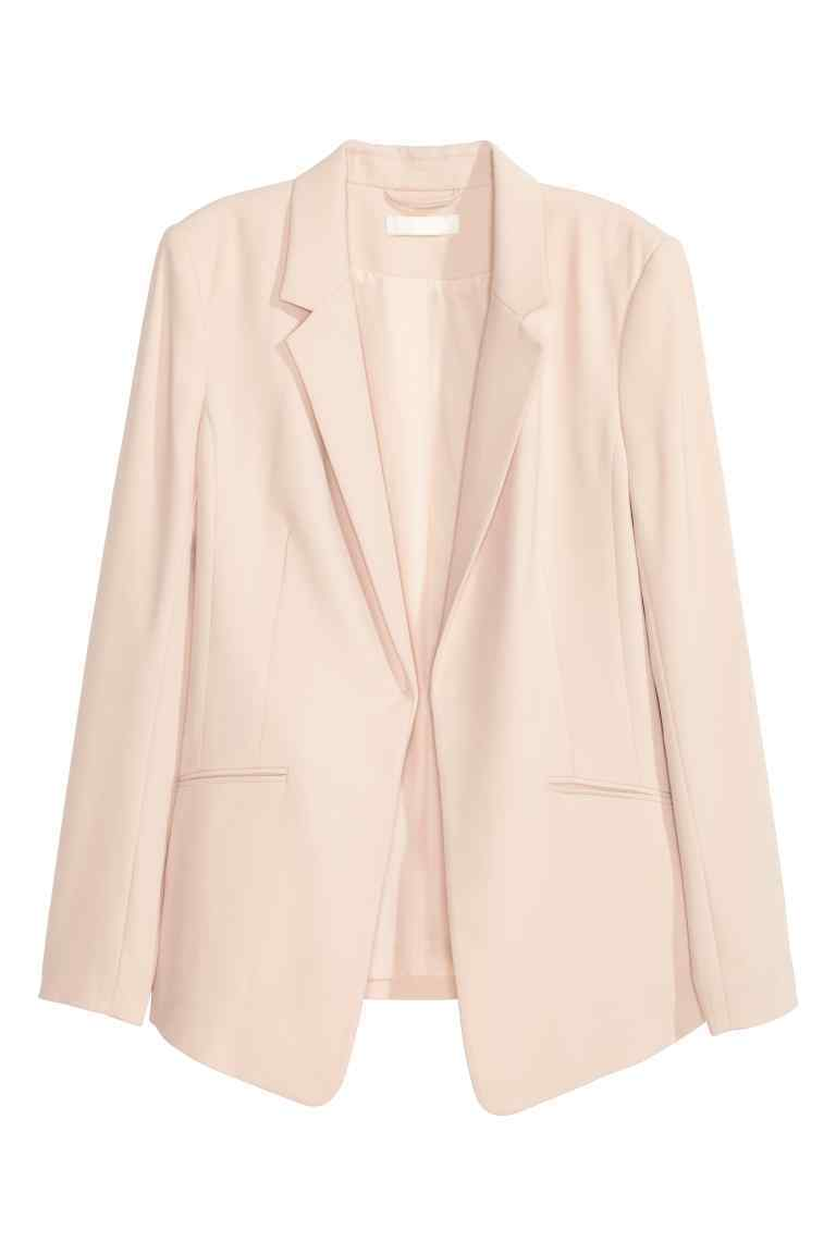 Fitted Jacket - pattern: plain; style: single breasted blazer; collar: standard lapel/rever collar; predominant colour: nude; length: standard; fit: tailored/fitted; fibres: polyester/polyamide - 100%; sleeve length: long sleeve; sleeve style: standard; texture group: crepes; collar break: medium; pattern type: fabric; occasions: creative work; wardrobe: investment; season: a/w 2016