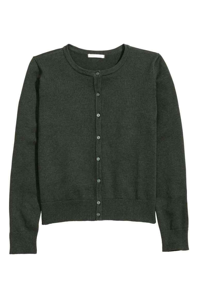 Fine Knit Cotton Cardigan - neckline: round neck; pattern: plain; predominant colour: charcoal; occasions: casual; length: standard; style: standard; fibres: cotton - 100%; fit: slim fit; sleeve length: long sleeve; sleeve style: standard; texture group: knits/crochet; pattern type: knitted - fine stitch; wardrobe: basic; season: a/w 2016