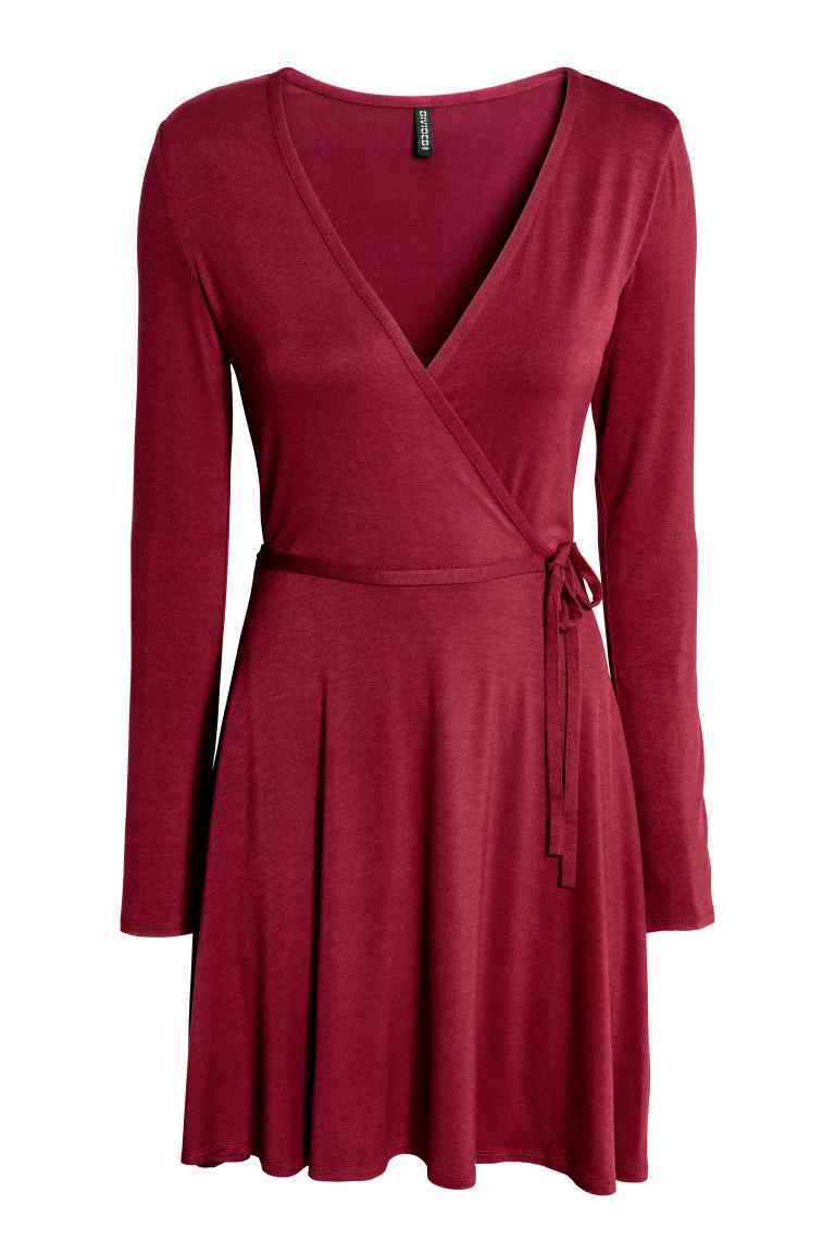 Wrap Dress - style: faux wrap/wrap; neckline: v-neck; pattern: plain; waist detail: belted waist/tie at waist/drawstring; predominant colour: burgundy; occasions: evening; length: just above the knee; fit: body skimming; fibres: viscose/rayon - stretch; sleeve length: long sleeve; sleeve style: standard; pattern type: fabric; texture group: jersey - stretchy/drapey; season: a/w 2016; wardrobe: event