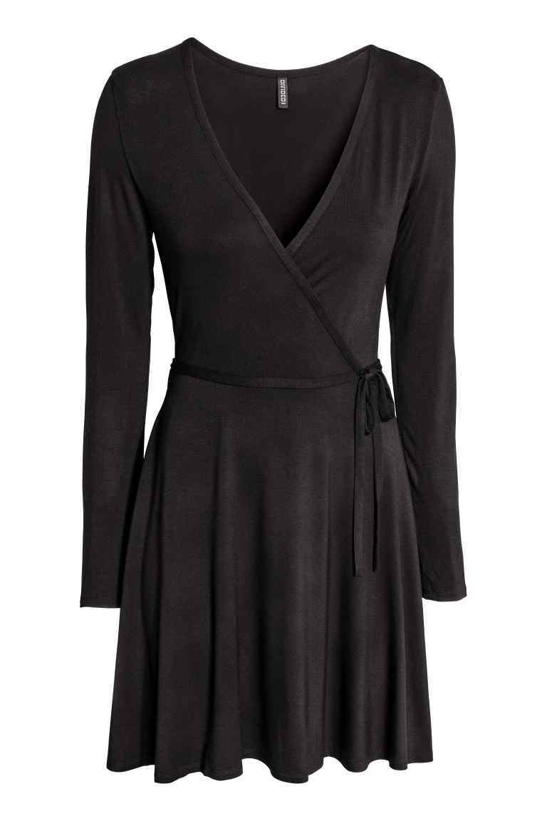 Wrap Dress - style: faux wrap/wrap; neckline: v-neck; pattern: plain; waist detail: belted waist/tie at waist/drawstring; predominant colour: black; occasions: evening; length: just above the knee; fit: body skimming; fibres: viscose/rayon - stretch; sleeve length: long sleeve; sleeve style: standard; pattern type: fabric; texture group: jersey - stretchy/drapey; season: a/w 2016; wardrobe: event