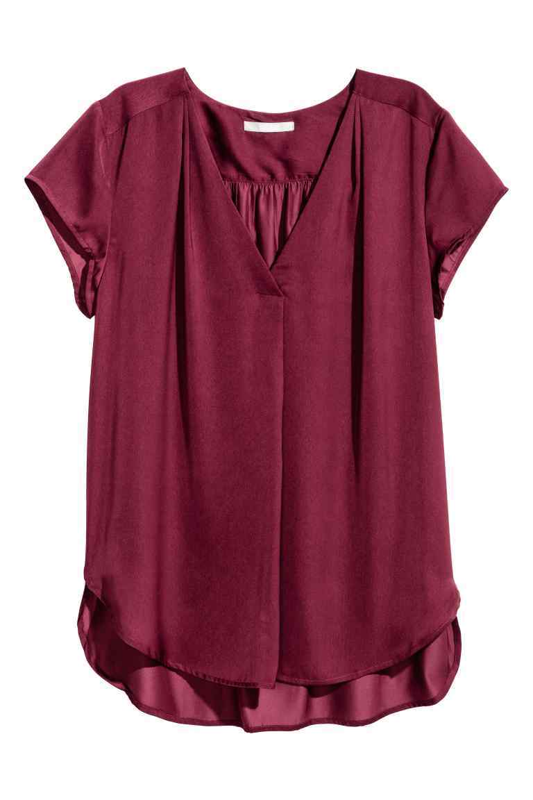 Satin Blouse - neckline: v-neck; pattern: plain; predominant colour: burgundy; occasions: casual; length: standard; style: top; fibres: polyester/polyamide - 100%; fit: body skimming; sleeve length: short sleeve; sleeve style: standard; texture group: structured shiny - satin/tafetta/silk etc.; pattern type: fabric; season: a/w 2016; wardrobe: highlight