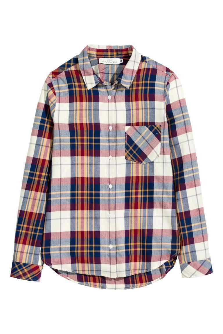 Cotton Shirt - neckline: shirt collar/peter pan/zip with opening; pattern: checked/gingham; style: shirt; predominant colour: white; secondary colour: navy; occasions: casual; length: standard; fibres: cotton - 100%; fit: body skimming; sleeve length: long sleeve; sleeve style: standard; texture group: cotton feel fabrics; pattern type: fabric; multicoloured: multicoloured; season: a/w 2016; wardrobe: highlight