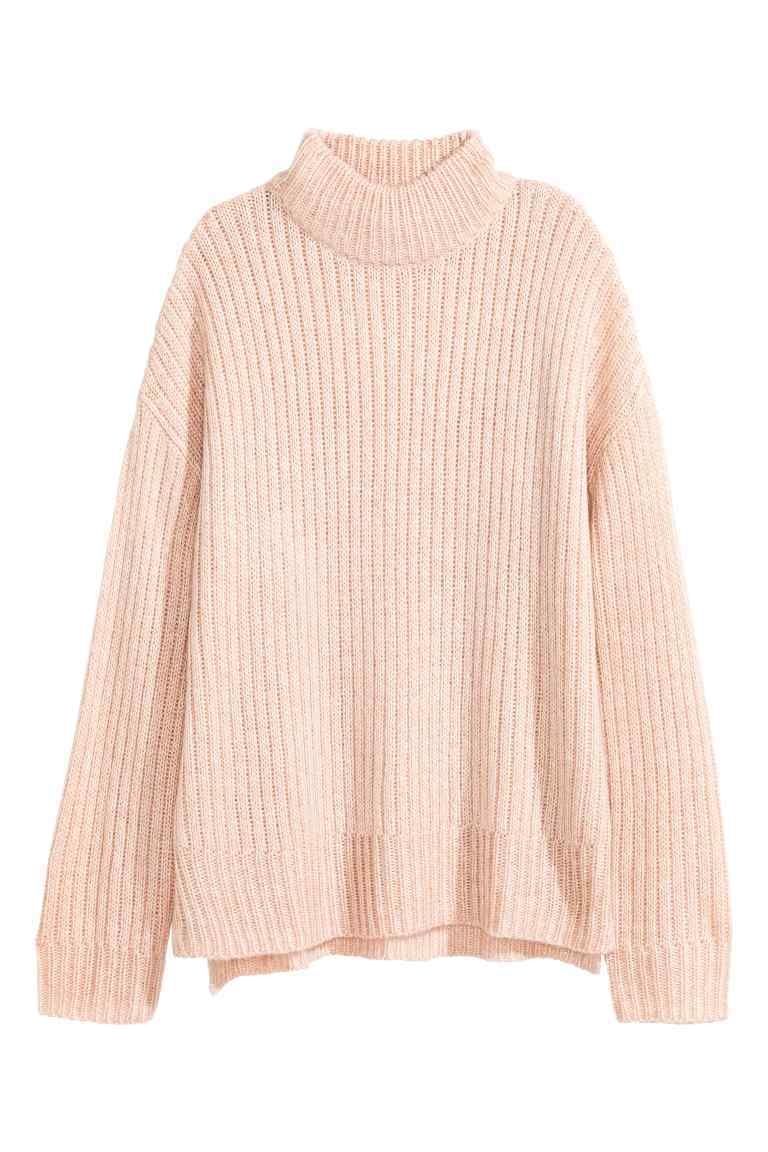 Chunky Knit Turtleneck Jumper - sleeve style: dolman/batwing; pattern: plain; neckline: roll neck; style: standard; predominant colour: blush; occasions: casual, creative work; length: standard; fit: loose; sleeve length: long sleeve; texture group: knits/crochet; pattern type: knitted - fine stitch; fibres: viscose/rayon - mix; wardrobe: basic; season: a/w 2016