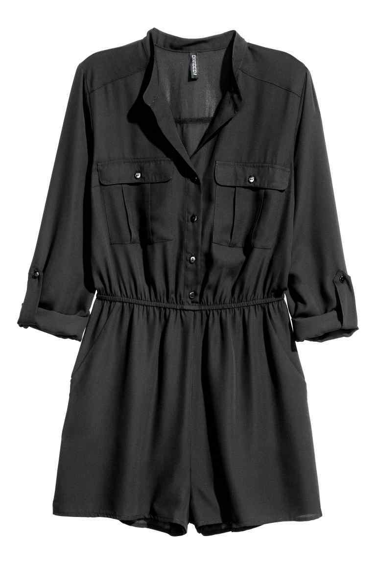 Playsuit - neckline: shirt collar/peter pan/zip with opening; pattern: plain; waist detail: belted waist/tie at waist/drawstring; length: short shorts; predominant colour: black; occasions: casual; fit: body skimming; fibres: polyester/polyamide - 100%; sleeve length: 3/4 length; sleeve style: standard; style: playsuit; pattern type: fabric; texture group: woven light midweight; season: a/w 2016; wardrobe: highlight