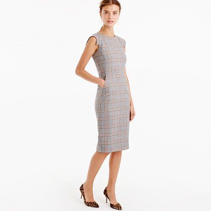 Petite Cap Sleeve Dress In Glen Plaid - style: shift; length: below the knee; sleeve style: capped; fit: tailored/fitted; pattern: checked/gingham; secondary colour: nude; predominant colour: light grey; occasions: work; fibres: wool - mix; neckline: crew; sleeve length: short sleeve; pattern type: fabric; texture group: woven light midweight; multicoloured: multicoloured; season: a/w 2016; wardrobe: highlight