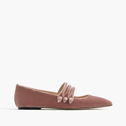 Strappy Pointed Toe Flats In Velvet - predominant colour: camel; occasions: casual, creative work; material: velvet; heel height: flat; ankle detail: ankle strap; toe: pointed toe; style: ballerinas / pumps; finish: plain; pattern: plain; wardrobe: basic; season: a/w 2016