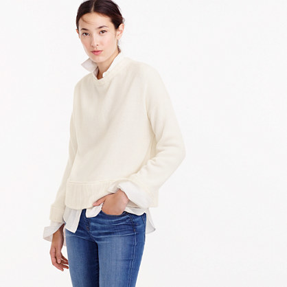 Italian Cashmere Drop Shoulder Crewneck Sweater - neckline: round neck; pattern: plain; style: standard; predominant colour: ivory/cream; occasions: casual, creative work; length: standard; fit: standard fit; fibres: cashmere - 100%; sleeve length: long sleeve; sleeve style: standard; texture group: knits/crochet; pattern type: knitted - fine stitch; season: a/w 2016