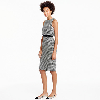 Going Places Dress In Houndstooth - style: shift; neckline: round neck; fit: tailored/fitted; pattern: plain; sleeve style: sleeveless; predominant colour: mid grey; occasions: evening, work; length: on the knee; fibres: polyester/polyamide - mix; sleeve length: sleeveless; pattern type: fabric; pattern size: standard; texture group: woven light midweight; wardrobe: investment; season: a/w 2016