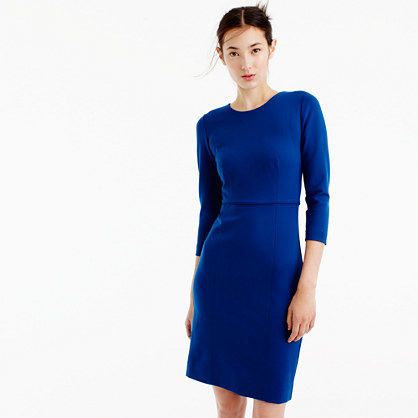 Long Sleeve Midi Dress In Ponte - length: mid thigh; neckline: round neck; fit: tight; pattern: plain; style: bodycon; predominant colour: royal blue; occasions: evening, work; fibres: viscose/rayon - stretch; sleeve length: long sleeve; sleeve style: standard; texture group: jersey - clingy; pattern type: fabric; season: a/w 2016; wardrobe: highlight