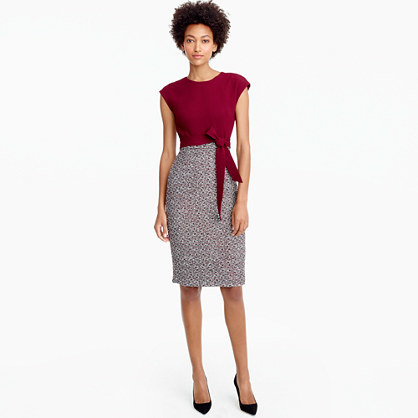 Combo Tweed Dress - style: shift; sleeve style: capped; fit: tailored/fitted; waist detail: belted waist/tie at waist/drawstring; predominant colour: light grey; occasions: evening; length: on the knee; fibres: polyester/polyamide - mix; neckline: crew; sleeve length: short sleeve; pattern type: fabric; pattern size: standard; pattern: colourblock; texture group: tweed - light/midweight; secondary colour: raspberry; season: a/w 2016; wardrobe: event