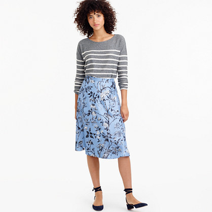 Collection Flowy A Line Skirt In Ratti® Monkey Print - length: below the knee; fit: loose/voluminous; waist: mid/regular rise; secondary colour: white; predominant colour: pale blue; occasions: casual; style: a-line; fibres: silk - 100%; texture group: silky - light; pattern type: fabric; pattern: florals; multicoloured: multicoloured; season: a/w 2016; wardrobe: highlight