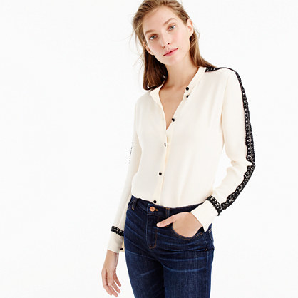 Collection Silk Top With French Lace - pattern: plain; style: shirt; predominant colour: ivory/cream; secondary colour: black; occasions: casual, creative work; length: standard; neckline: collarstand & mandarin with v-neck; fibres: silk - 100%; fit: body skimming; sleeve length: long sleeve; sleeve style: standard; texture group: silky - light; pattern type: fabric; embellishment: lace; multicoloured: multicoloured; season: a/w 2016; wardrobe: highlight