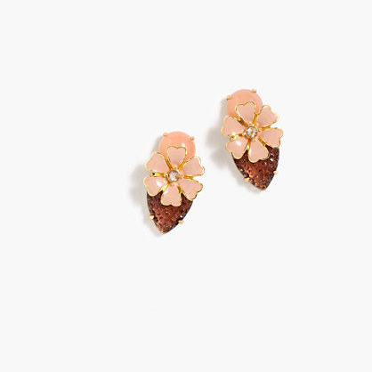 Stacked Petal Earrings - secondary colour: camel; predominant colour: nude; occasions: evening; style: stud; length: short; size: standard; material: chain/metal; fastening: pierced; finish: plain; embellishment: jewels/stone; multicoloured: multicoloured; season: a/w 2016