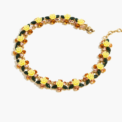 Firefly Flower Collar Necklace - predominant colour: yellow; secondary colour: gold; occasions: evening; length: short; size: standard; material: chain/metal; finish: metallic; embellishment: beading; style: bib/statement; season: a/w 2016