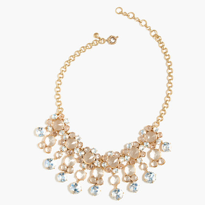 Icy Crystal Drop Necklace - secondary colour: blush; predominant colour: gold; occasions: evening, occasion; length: mid; size: large/oversized; material: chain/metal; finish: metallic; style: bib/statement; season: a/w 2016