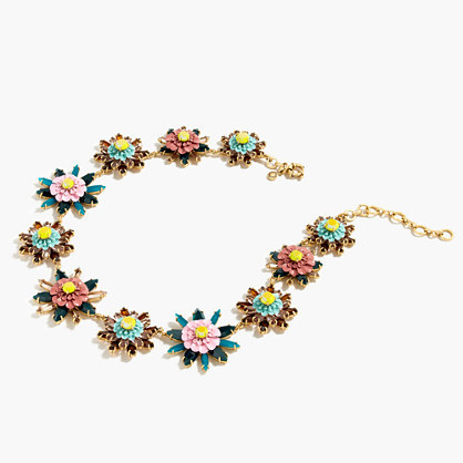 Floral Medallion Necklace - secondary colour: navy; predominant colour: gold; occasions: evening, occasion; length: short; size: standard; material: chain/metal; finish: metallic; embellishment: jewels/stone; style: bead; season: a/w 2016; wardrobe: event