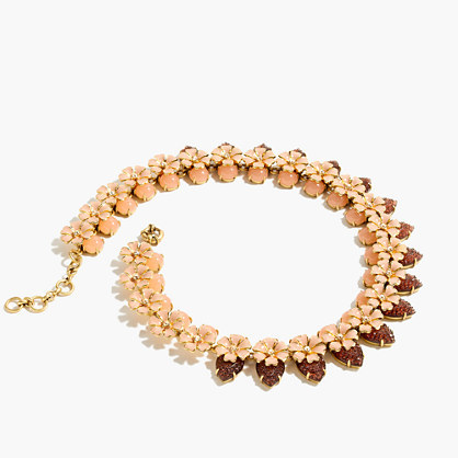 Stacked Floral Necklace - secondary colour: burgundy; predominant colour: gold; occasions: evening; style: choker/collar/torque; length: mid; size: standard; material: chain/metal; finish: metallic; multicoloured: multicoloured; season: a/w 2016; wardrobe: event