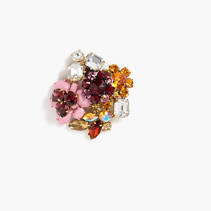 Jewel Cluster Pin - predominant colour: burgundy; secondary colour: gold; occasions: evening; style: pin; size: large/oversized; material: chain/metal; finish: metallic; embellishment: jewels/stone; multicoloured: multicoloured; season: a/w 2016