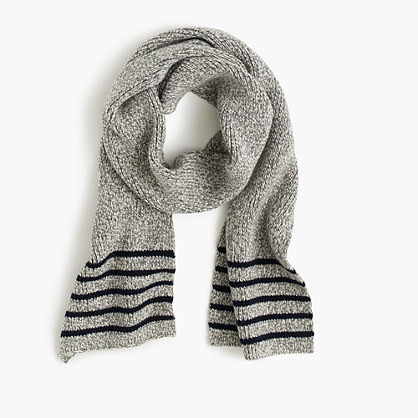 Boys' Striped Cotton Scarf - predominant colour: mid grey; secondary colour: black; occasions: casual, creative work; type of pattern: standard; style: regular; size: standard; material: knits; pattern: striped; season: a/w 2016; wardrobe: highlight
