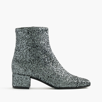 Carel Estime™ Glitter Boots - predominant colour: silver; occasions: casual, creative work; material: leather; heel height: mid; embellishment: glitter; heel: block; toe: round toe; boot length: ankle boot; style: standard; finish: metallic; pattern: plain; season: a/w 2016; wardrobe: highlight