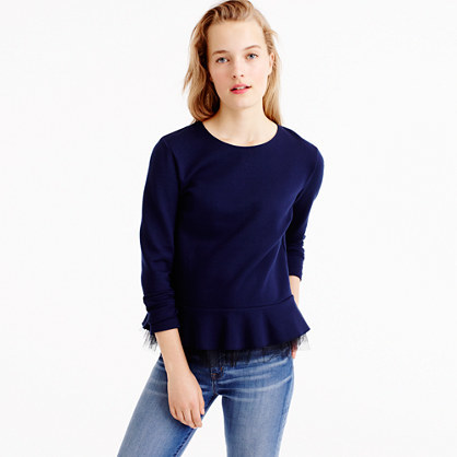 Tulle Hem Top - pattern: plain; waist detail: peplum waist detail; predominant colour: navy; occasions: casual; length: standard; style: top; fibres: viscose/rayon - stretch; fit: body skimming; neckline: crew; sleeve length: 3/4 length; sleeve style: standard; pattern type: fabric; texture group: jersey - stretchy/drapey; season: a/w 2016