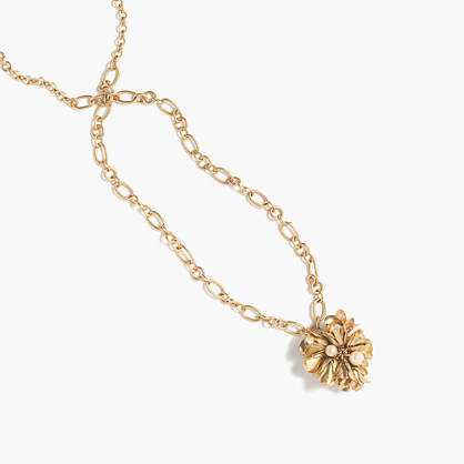 Floral Drop Pendant - predominant colour: gold; occasions: evening; style: pendant; length: long; size: standard; material: chain/metal; finish: metallic; embellishment: jewels/stone; season: a/w 2016; wardrobe: event